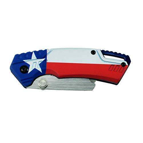 Treasure Gurus Texas Star State Flag Folding Pocket Knife USA Made Work Utility Razor US Box Cutter Tool