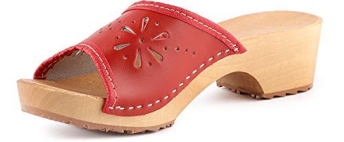 Ladeheid Zuecos de Madera Crocs Sandalias Chanclas Zapatos Verano Mujer LAFA043 (Rojo 2, 40 EU)