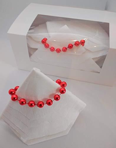 Servietten Weihnachtsbäume, 12 er Set mit Perlenketten. In einer Geschenkbox mit Sichtfenster verpackt.