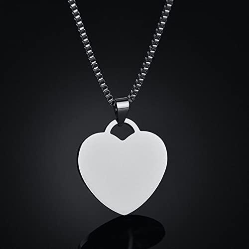 Collar de Acero Inoxidable con Forma de corazón en Blanco para Mujer, Hombre, Colgantes, Gargantilla, joyería