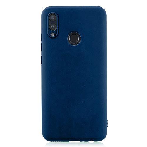 cuzz Custodia Huawei P Smart 2019+{Film di Vetro temperato}Silicone TPU Cover Morbida Protettiva Custodia Ultra Sottile Leggero Cover-Blu Scuro