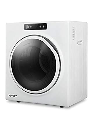 KUPPET 11lbs Compact Laundry Dryer, 1300W Portable Dryer with Stainless Steel Tub, Control Panel Upside Easy Control for 4 Automatic Drying Mode, Portable Clothes Dryer for Apartments and Home, White