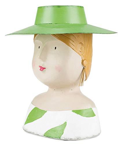 Aufsteller Deko Kopf Ladykopf mit Hut aus Metall zum dekorieren mit Pflanzen Baden-Kopf