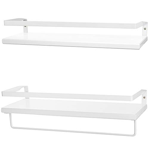 2-Tier White Floating Wall Shelves with Black Metal, Industrial Wall-Mount Storage Floating Shelf, Rustic White Bookshelf and Display Shelving, for Bedroom, Bathroom, Living Room, Kitchen and Office