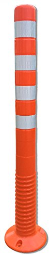 1 Stück - UvV-Reflex Absperrpfosten, Poller 100 cm hoch, flexibel orange, reflektierend, selbstaufrichtend
