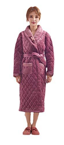 Albornoz de Las señoras de la Bata,Pijama de Franela extendido, Acolchado de Tres Capas más Terciopelo Engrosamiento para Damas Ropa de hogar Albornoz-púrpura 1_XXL