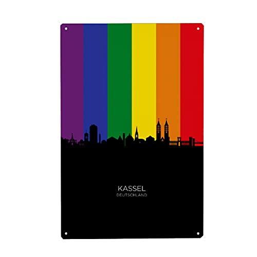artboxONE Metall-Poster 40x60 cm Städte Kassel Germany Skyline Pride von Künstler Michael Tompsett