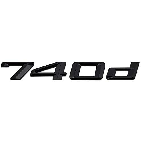 OZ6YA Hochglanzschwarz 740d Heckstiefelabzeichen Emblem Nummer Buchstabe Kompatibel für 7er E38 E65 E66 E67 E68