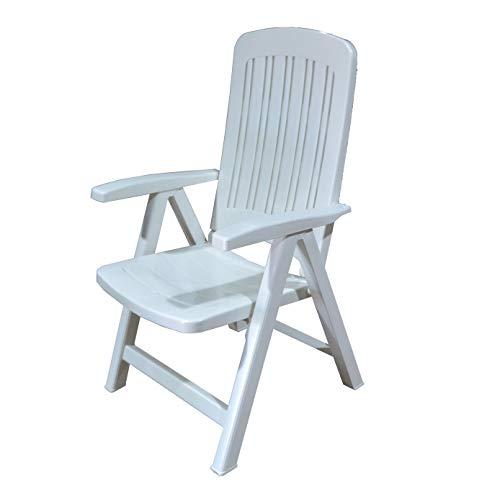 Silla Plástico Plegable Multi-Posiciones, Muy Ligera y Resistente Ideal para Jardín y Piscina de Color Blanco