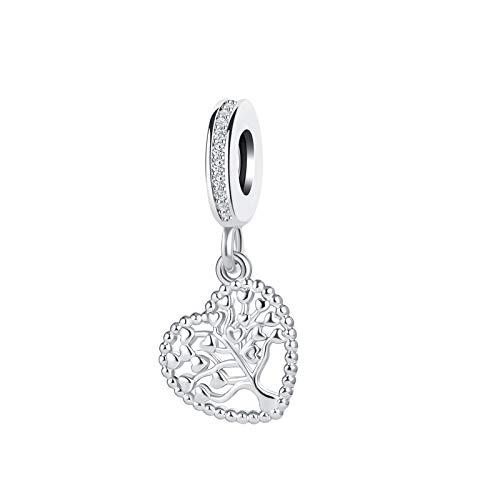 SBI Jewelry Family Tree Charm for Bracelets Love Heart Dangle Charm Tree of Life Pendant Gift for Women Girls Birthday