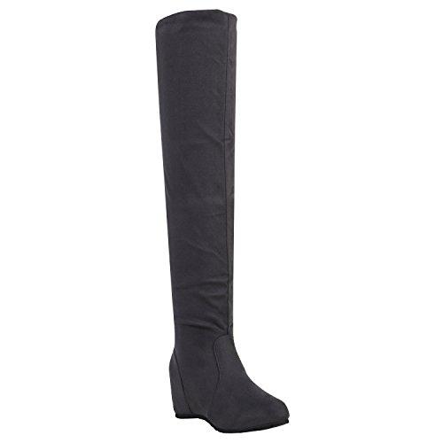 Damen Schuhe Stiefel Keilabsatz Overknees Veloursoptik Boots 151929 Grau Samtoptik 40 Flandell