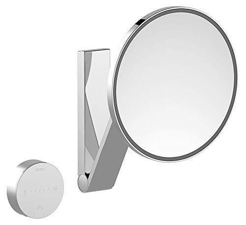 KEUCO Wand-Kosmetikspiegel mit Schwenkarm, variabler LED-Beleuchtung, 5-facher Vergrößerung, Unterputz-Kabelführung, 20x20cm, rund, chrom, iLook_move