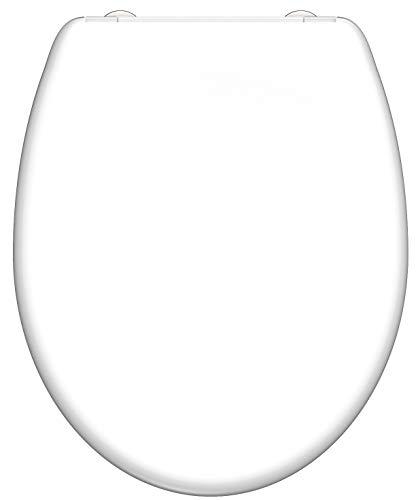 SCHÜTTE WC-Sitz Duroplast Toilettensitz mit Absenkautomatik und Schnellverschluss für die einfache Reinigung passend, maximale Belastung der Klobrille 150 kg Weiß 82300