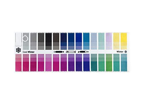 Stoff-Farbpass für Farbtyp Winter (Cool Winter) als Brillenputztuch mit 30 typgerechten Farben zur Farbanalyse, Farbberatung, Stilberatung…