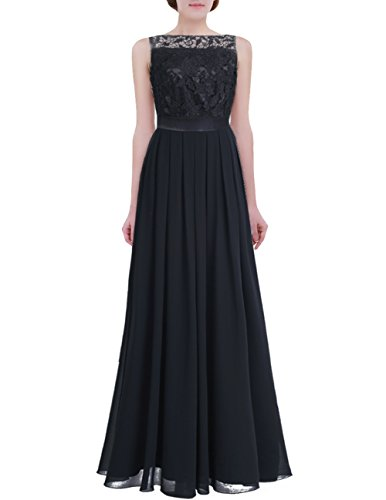 iiniim Womens Lace Crochet Chiffon Party Prom Gowns Bridesmaid Long Evening Gown Dress