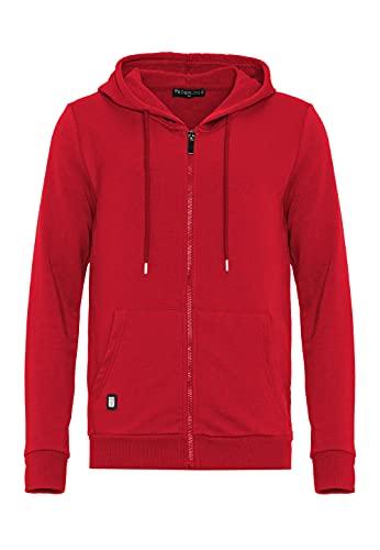 Redbridge Herren Sweatjacke Kapuzenpullover Zip Hoodie mit Reißverschluss Premium Basic Rot L