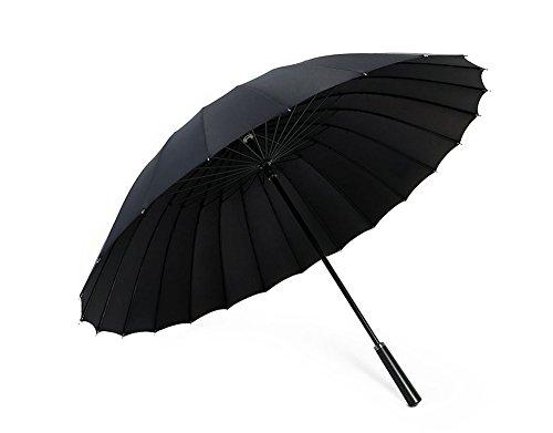 ZHDC® Regenschirm, langer Griff doppelte große Verstärkung Windproof Regen Sonnenschirm ( Farbe : Schwarz )