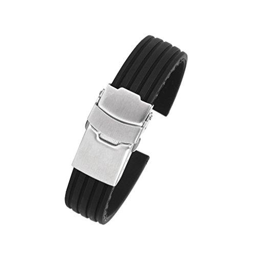 【ノーブランド品】時計バンド 交換ベルト シリコンゴム 腕時計ストラップ 防水16mm  縦シマ ブラック