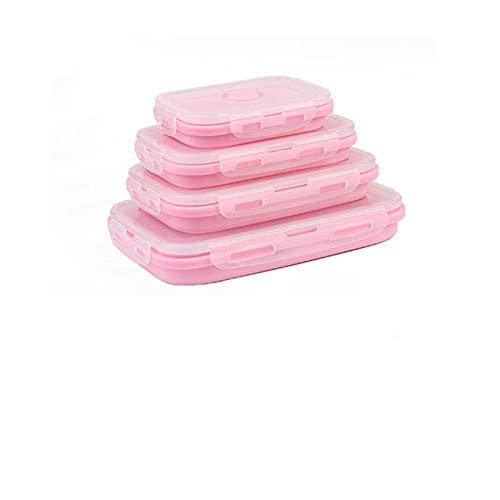 CTPLIKMH Lunch Bento Box Caja de Almuerzo de Silicona Plegable Almacenamiento de Alimentos Contenedor de microondas Bento Picnic portátil Gratis Camping al Aire Libre (Color : Pink 6pcs)