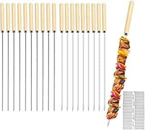E-More Grillspieße Edelstahl, 20 Stück Schaschlikspieße Wiederverwendbare Kebap Spiesse Grill Spieße Fleischspieße für BBQ & Grill mit Holzgriff, 33CM, mit Quick Meat String Device