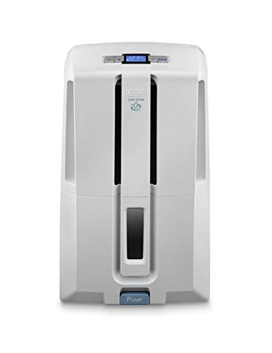 De'Longhi DD230P Deshumidificador multifunción con filtro de limpieza de aire, 30 L/d, sistema bombeo y drenaje continuo, gas ecológico, temporizador programable, 540 W, 51 Decibelios, blanco y gris