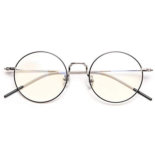 DOLLGER ブルーライトカットメガネ PCメガネ おしゃれ 丸い眼鏡15g(透明レンズ)伊達メガネ ファション眼鏡 ラウンド 男女兼用(シルバー)