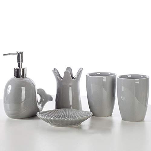 Soap Bottles European Style Bathroom Five-Piece Cute Animal Whale Lotion Dispenser Set Ceramic Bathroom Accessories Mouthwash Cup Creative Gift Set Lotion dispensers (Color : Gray)