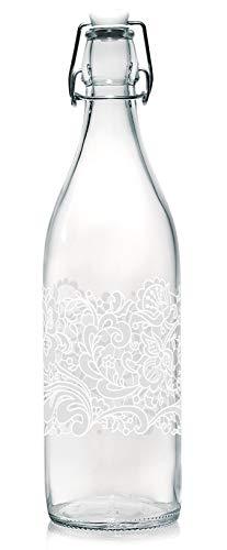 Baroni Home Bottiglia Acqua di Vetro da tavola Decorata con Tappo ermetico Trina Bianca Made in Italy capienza 1l