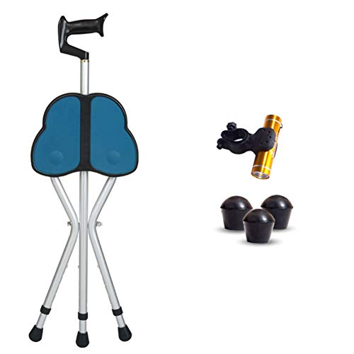 LK-HOME Gehstock, Gehhilfen, Dreibeinige Klappkrücken Aus Aluminiumlegierung, rutschfeste Sitzbretter, Gehhilfen Für ältere Menschen,Blau,Bow Grip