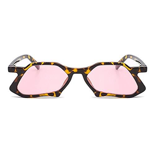 Kaper Go Gafas de sol irregulares de polígono para conducir, unisex, protección UV400, montura de leopardo, color rosa