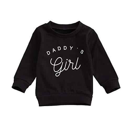 Eghunooye Sweatshirt Pullover Baby Mädchen Daddy Girls Print Langarm Sweater Top Kleinkind Kinder Baby Mädchen Herbst Kleidung Oberteil (Schwarz, 6-12Monate)