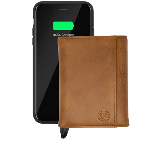 Smart Wallet with Built-in Power Bank   4,000 mAh Battery   Including Lightning and USB-C Cables (Homage Brown)
