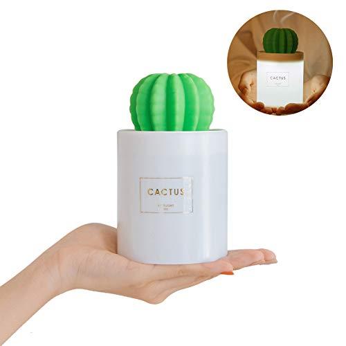 XIAMUSUMMER Mini Cactus Aroma Diffuser Ultraschall Aromatherapie Ätherische Öle Kaktus Vasen-Stil Essential Oil Luftbefeuchter LED Mood Licht für Spa, Yoga, Schlafzimmer, Wohnzimmer