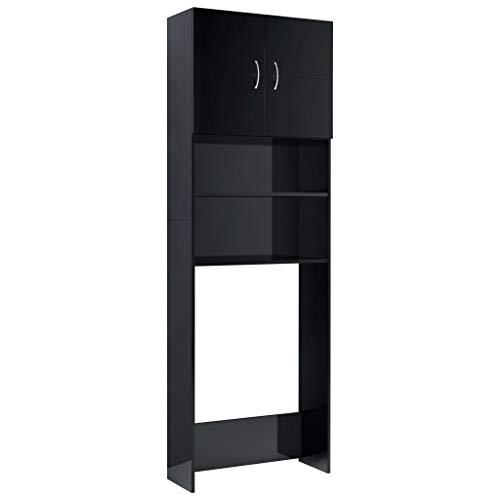 *vidaXL Waschmaschinenschrank mit 2 Türen 2 offenen Fächern Badmöbel Badschrank Hochschrank Badhochschrank Hochglanz-Schwarz 64×25,5x190cm Spanplatte*