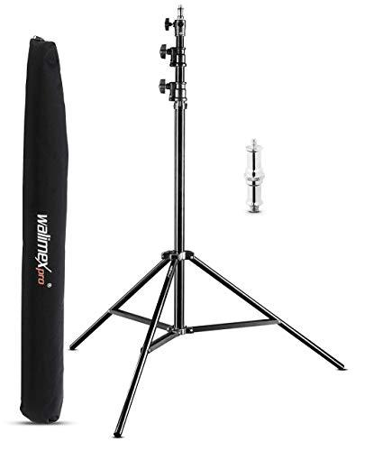 Walimex pro AIR 290 Deluxe Lampenstativ 290 cm - Lichtstativ mit Luftfederung Höhe max 290 cm, 7 kg Traglast, stabil und vielseitig, Aluminium, Leuchtenstativ für Fotografie Studio Outdoor