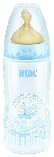 NUK First Choice+ - Biberón cuello ancho de látex, talla M, 300 ml, color azul