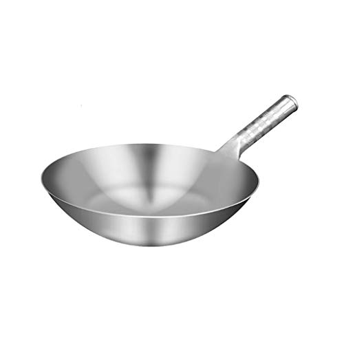 Great Deal! SHYOD Stainless Steel Thick Pure Handmade Wok, Traditional Non-Stick, Non-Rusty, Gas Wok...