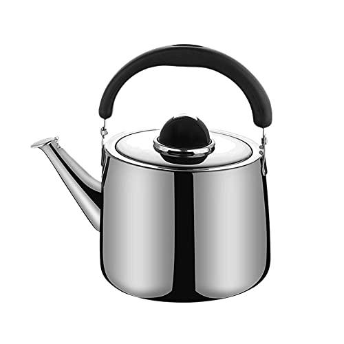 BAWAQAF Tetera, Hervidor de silbido de acero inoxidable, Tetera de gas, Botella de agua caliente de leche de gran capacidad, Hervidor de té de cocina al aire libre