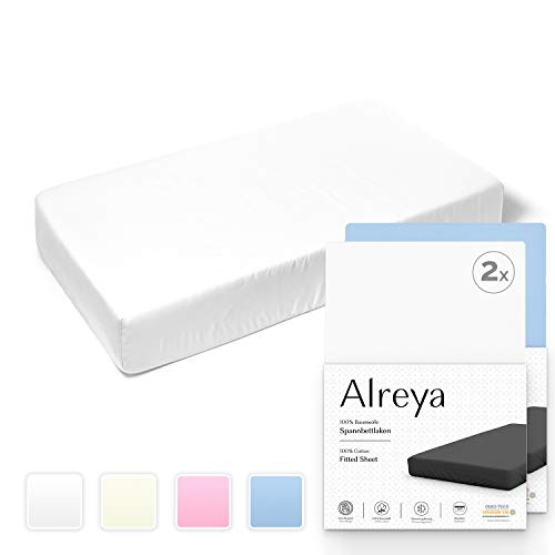 Alreya Spannbetttuch 2er Set für Kinderbett Babybett 100% Baumwolle - 60x120 / 70x140 cm weiß blau - Hypoallergen Spannbettlaken Jersey Oeko Tex zertifiziert