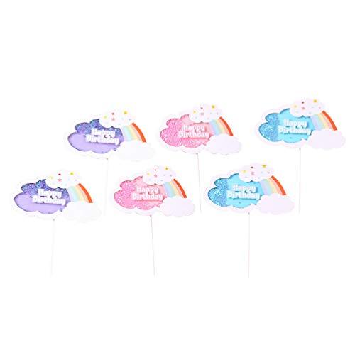 VALICLUD Regenbogen Kuchen Picks Cloud Cupcake Picks Kreative Pailletten Cupcake Topper 3D Regenbogen Cloud Kuchen Kuchen Dekoration für Geburtstagsfeier Weihnachten Baby Dusche Hochzeit