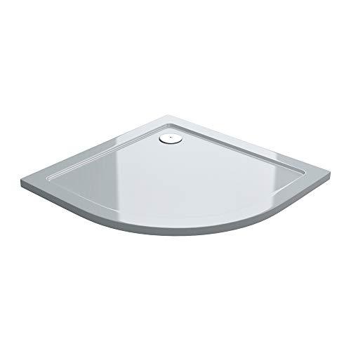 doporro Duschtasse Duschwanne Faro3W 90x90x4 flach aus Acryl in Weiß Viertelkreis DIN-Anschlüsse für bodenebene Montage geeignet
