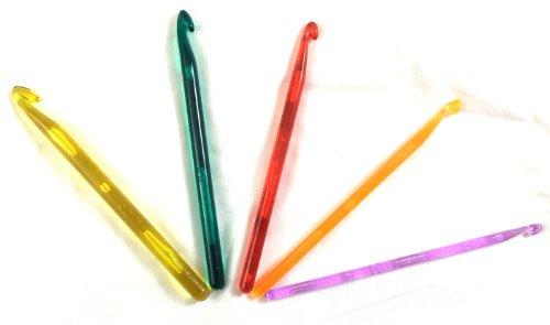 CONCEPT4U - Set di 5 ferri da maglia in plastica multicolore per uncinetto, 5 - 9 mm, 5 mm, 6 mm, 7 mm, 8 mm, 9 mm