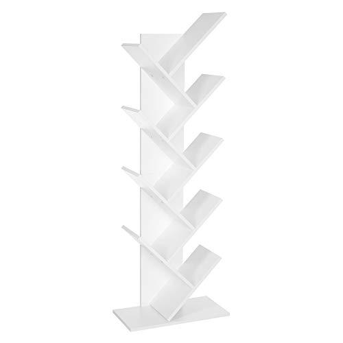 VASAGLE Librería en Forma de árbol, Librería de 8 Niveles con estantes de Madera, para Sala de Estar, Oficina doméstica, Blanco LBC11WTV1