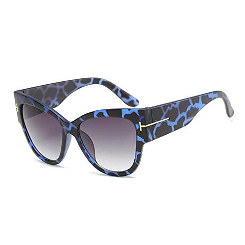 NJJX Gafas De Sol Vintage Con Forma De Ojo De Gato Para Mujer, Gafas De Sol Negras Para Mujer, Gafas De Sol A La Moda, Azul, Leopardo-Gris
