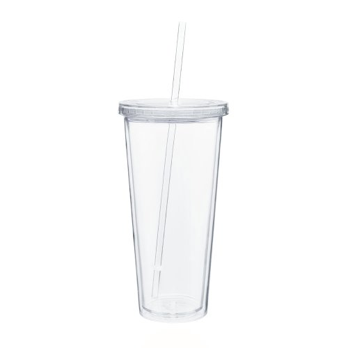 Eco To Go Cold Drink Tumbler - Double Wall -20oz. Capacity - Clear