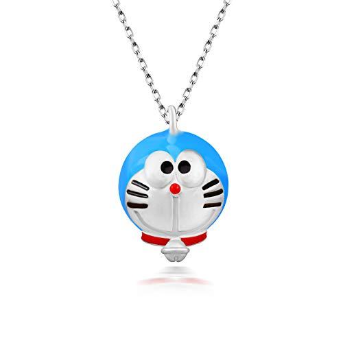 QKL Collana Doraemon Personalizzata in Argento Sterling 925 di Moda Personalizzata, Catena Clavicola Blu Grasso