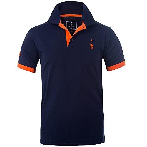 GLESTORE Polo para Hombre de Manga Corta Collar Camisa Golf MT1030 de Tenis Camiseta Azul Negro Gris Rosa M-XXL