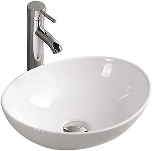 Gimify 洗面ボウル 洗面ボール 洗面台 手洗いボウル 陶器製 手洗い器 排水金具付き 舟型40x33x14.5cm(蛇口は付きません)