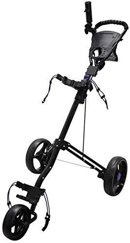 LBWARMB Carrito de Golf 3 Ruedas Golf Carros con Freno Golf Push Cart un Segundo for Abrir y Cerrar Plegable Carro de Golf - multifunción Marcador (Color : Black)