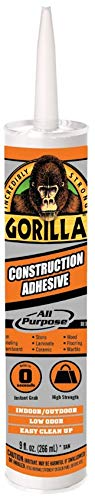 Gorilla All Purpose Instant Grab Construction Adhesive, 9 ounce Cartridge, White, (Pack of 6)